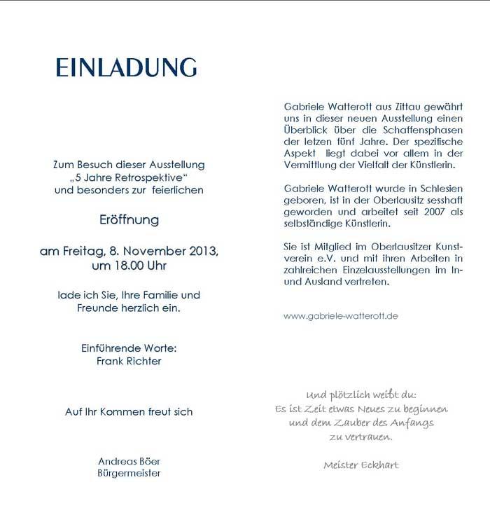 oberlausitzmyhome - blog: galerie im rathaus reichenbach /ol, Einladungen
